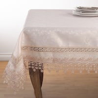 Elegant Embroidered Floral Applique Old Fashioned Style Tablecloth