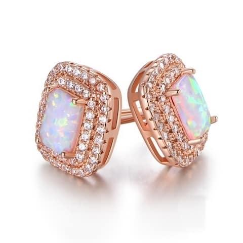 Rose Gold Plated Baguette-Cut White Fire Opal & Cubic Zirconia Double Halo Stud Earrings