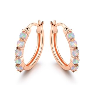 Rose Gold Plated White Fire Opal Hoop Earrings
