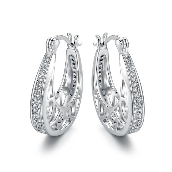 White Gold Plated Cubic Zirconia Hoop Earrings