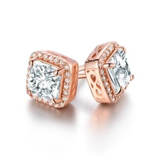 Rose Gold Plated Cubic Zirconia Princess-Cut Stud Earrings