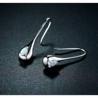 White Rhodium Plated White Fire Opal Teardrop Drop Earrings