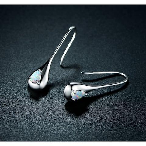 Rhodium Plated Fire Opal Drop Earrings