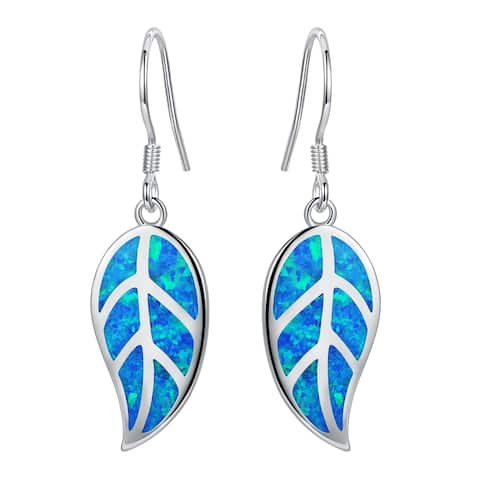 White Gold Plated Lab Created Opal Earrings