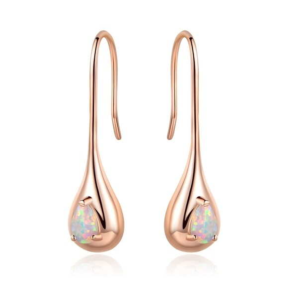 Rose Gold Plated White Fire Opal Teardrop Drop Earrings