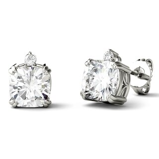 Charles & Colvard 14k White Gold 2 1/4ct DEW Forever One Near-Colorless Moissanite Double Prong Cushion Stud Earrings