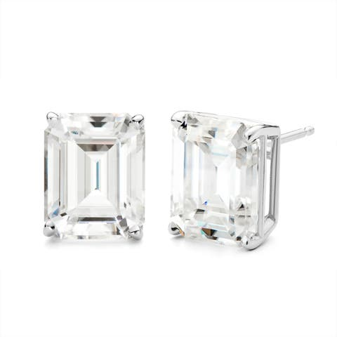 Charles & Colvard 14k White Gold 2ct DEW Forever One Near-Colorless Moissanite Emerald-cut Stud Earrings