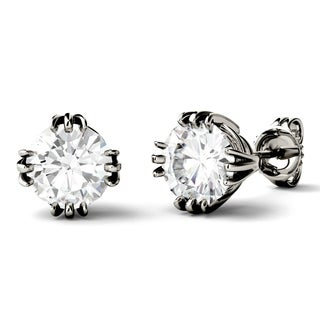 Charles & Colvard 14k Gold 2ct DEW Forever One Colorless Moissanite Triple Prong Stud Earrings