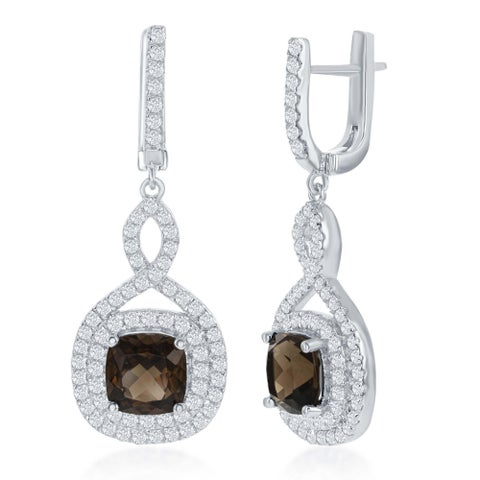 La Preciosa Sterling Silver High Polish Smoky Square Quarts Center w/ White Topaz Border Earrings - Brown