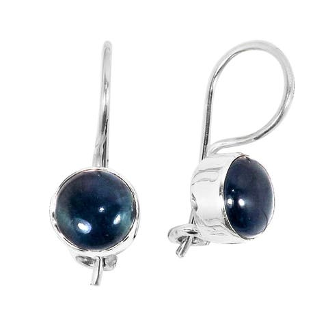 Handcrafted Sterling Silver Blue Apatite Earrings (India)