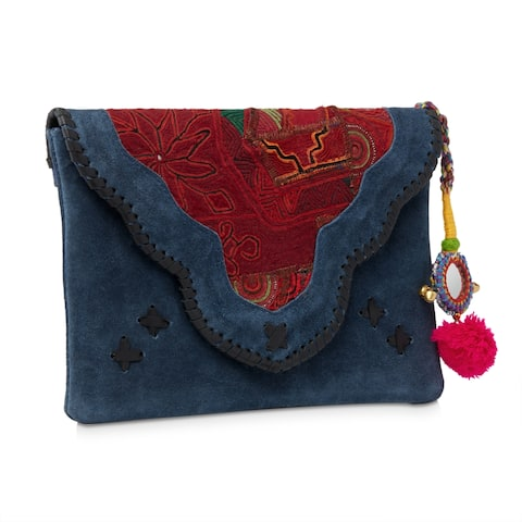 Handmade Jaipur Haveli Embroidered Blue Suede Clutch Bag (India)