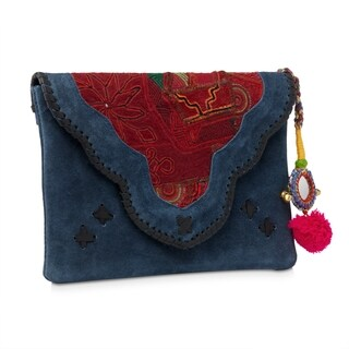 Handmade Jaipur Haveli Blue Suede Clutch (India)
