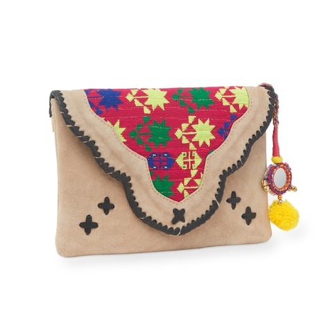 Handmade Jaipur Haveli Embroidered Beige Suede Clutch Bag (India)