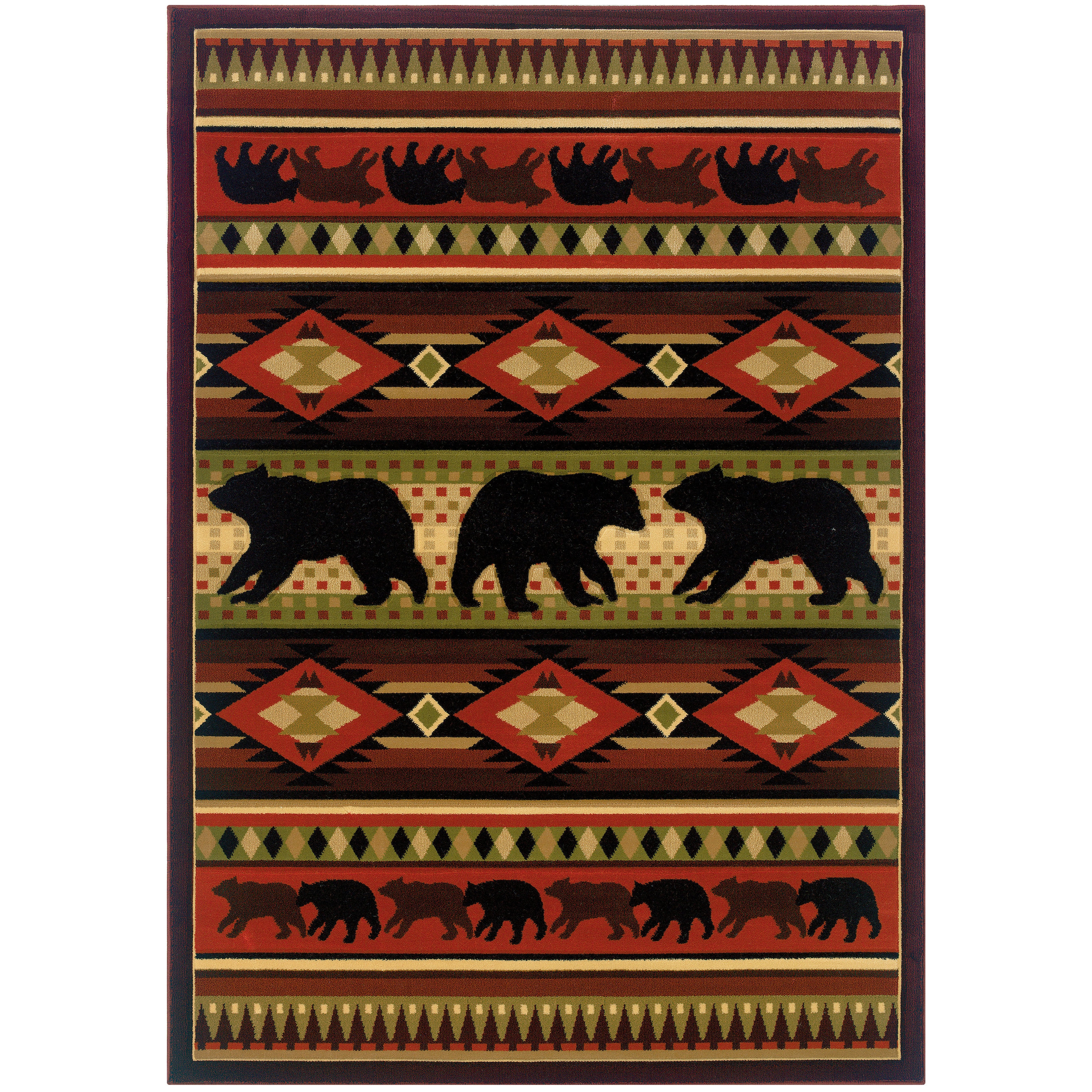 Westfield Home Wildwood Bear Play Hand-carved Accent Rug ...