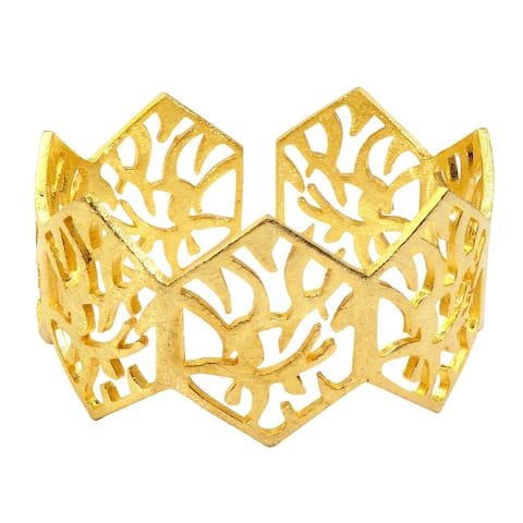 Handmade Gold Overlay Brushed Texture Cuff (India) - Yellow - 8 inches