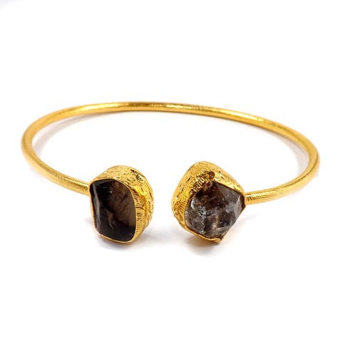 Handmade Gold Overlay Quartz & Herkimer Diamond Bangle (India)