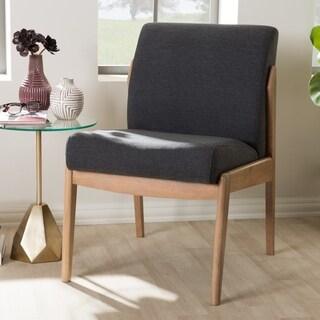 Baxton Studio Grey Fabric Mid-Century Slipper Lounge Chair