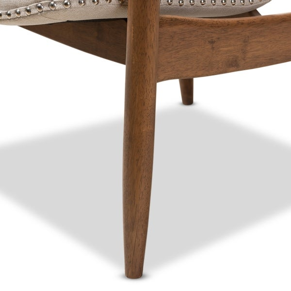 baxton studio midcentury fabric and wood lounge chair free shipping today