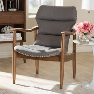 Baxton Studio Mid-Century Fabric and Wood Lounge Chair