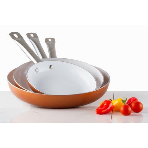 3 Pack Healthy Ceramic Frying Pan Set - Nonstick Ceramic Copper Pan With Metal Handle
