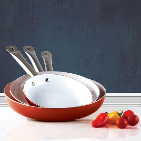3 Pack Healthy Ceramic Frying Pan Set - Nonstick Ceramic Red Pan With Metal Handle