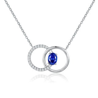 Rhodium Plated Blue Spinel Pendant Necklace