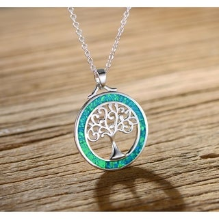 White Gold Plated Tree Of Life Pendant Necklace