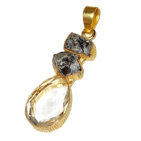 Handmade Gold Overlay Herkimer Diamond, Smoky Quartz Necklace (India) - Brown