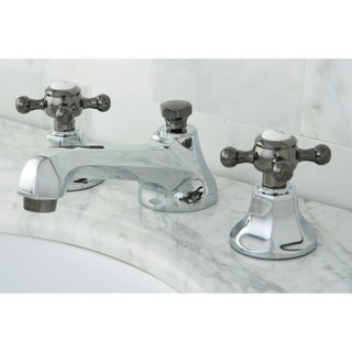 Chrome U0026 Black Cross Handle Widespread Bathroom Faucet