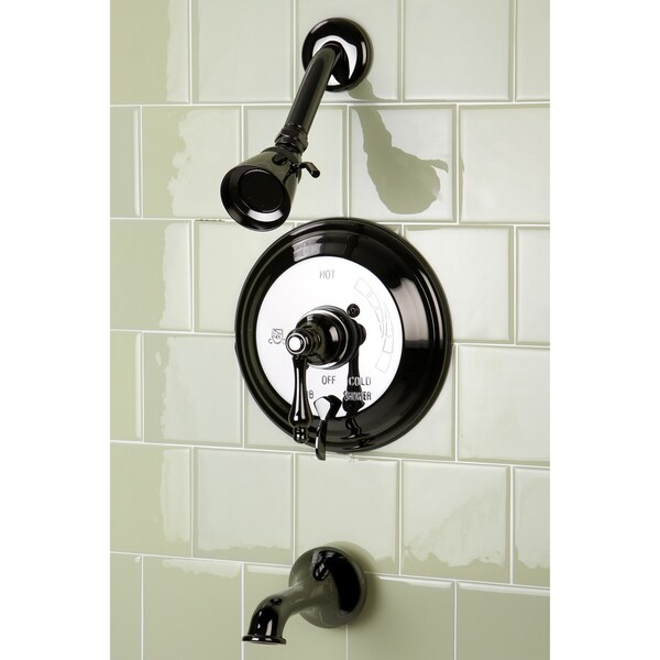 Vintage Lever Handle Black Stainless Steel Pressure Balanced Tub and Shower  Faucet
