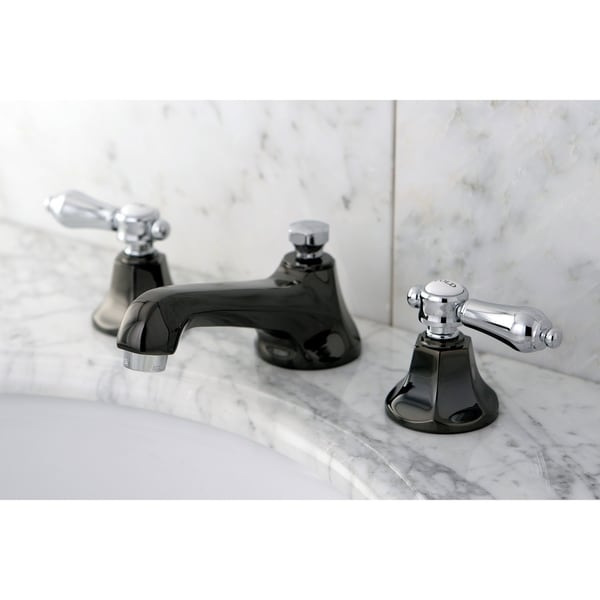 Black & Chrome Double-handle Widespread Bathroom Faucet