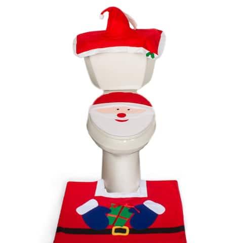 Christmas Decoration Santa Claus Bathroom Set - Rug Toilet Seat Cover Set