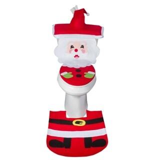 Christmas Decoration Santa Claus Bathroom Set Rug Toilet Seat Cover Set