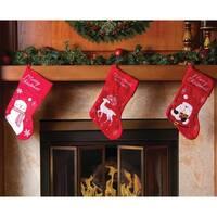 "Christmas Stocking Set - 15"" Red Santa Snowman Reindeer Stocking Set"
