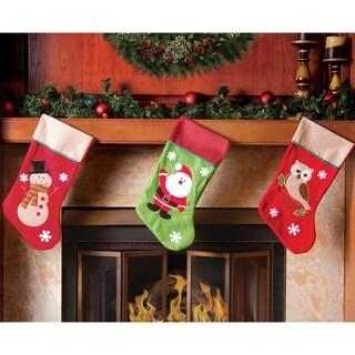 """Christmas Stocking Set - 19"""" Santa Snowman Owl Stocking Set"""