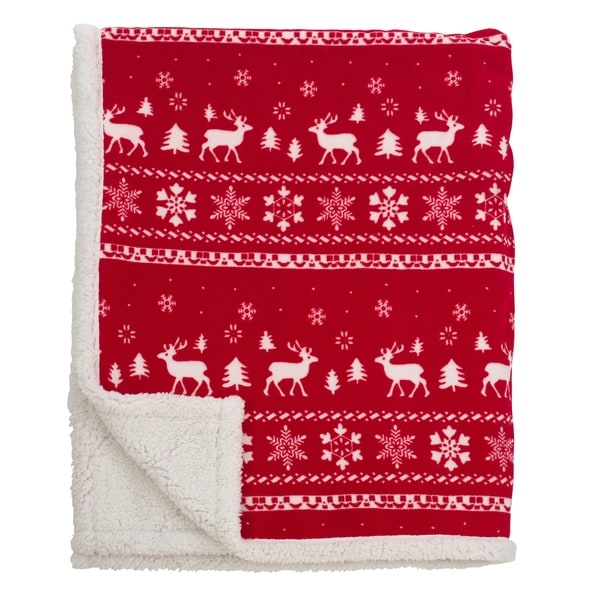 Fair Isle Design Christmas Sherpa Reversible Throw - Free Shipping ...