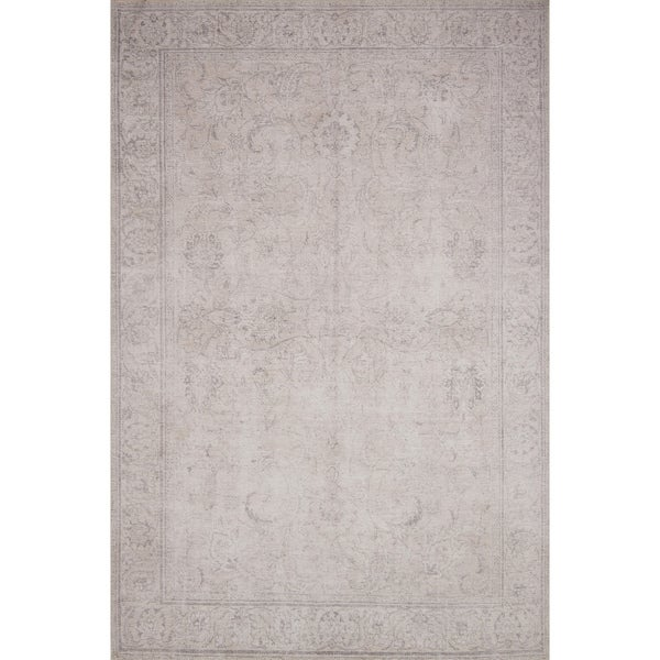 Traditional Distressed Sand Beige Printed Area Rug - 2'3 x 3'9