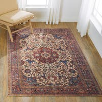 Alexander Home Lina Distressed Multicolored Cotton Rug - 5' x 7'6