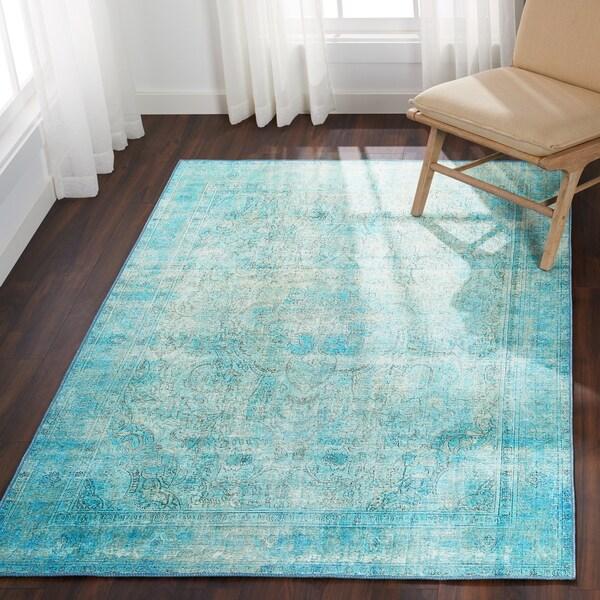Shop Lina Distressed Aqua Blue Rug (3'6 X 5'6)