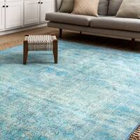 Lina Distressed Aqua Blue Rug (3'6 x 5'6)