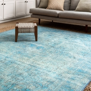 Lina Distressed Aqua Blue Rug (2'3 x 3'9)