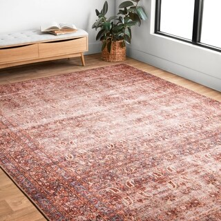 Lina Distressed Crimson/ Purple Rug (2'3 x 3'9)