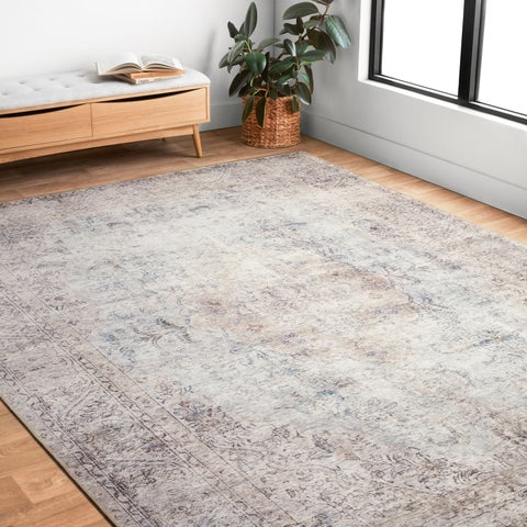 "Traditional Distressed Grey/ Slate Printed Area Rug - 2'3"" x 3'9"""