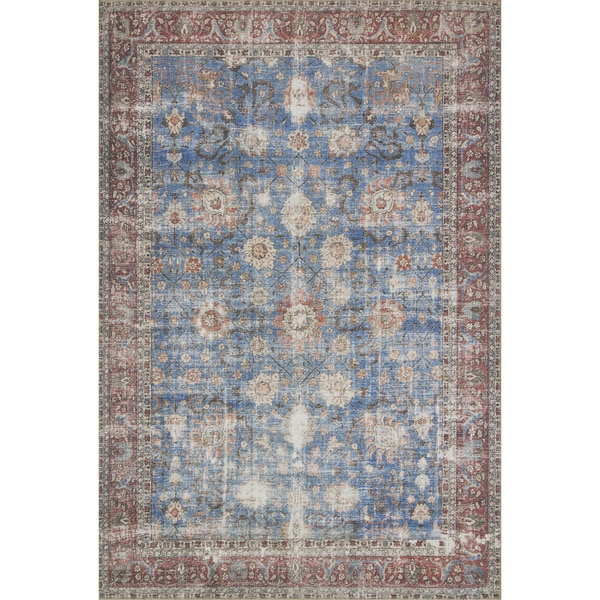 Traditional Distressed Blue/ Red Floral Printed Area Rug - 2'3 x 3'9