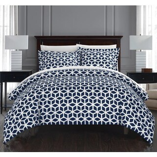 Chic Home Lovey 3 Piece Navy Geometric Reversible Duvet Cover Set