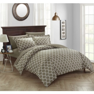 Chic Home Finlay 3 Piece Taupe Diamond Fretwork Reversible Duvet Cover Set