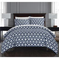 Chic Home Lovey 9 Piece Navy Geometric Reversible Duvet Cover Set and Sheet Set