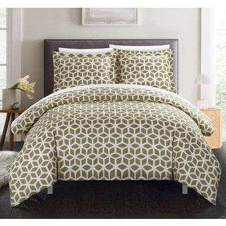 Chic Home Lovey 9 Piece Taupe Geometric Reversible Duvet Cover Set and Sheet Set