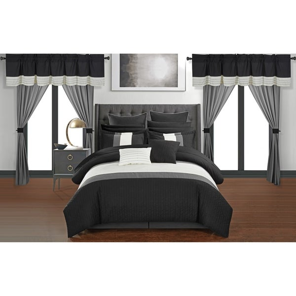 Chic Home Arisa Black Color Block 24 Piece Room in a Bag- Sheet Set and Window Curtain Included