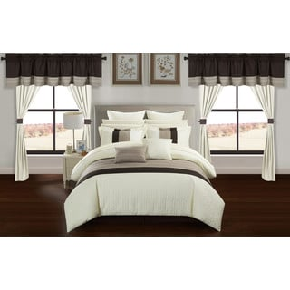 Chic Home Arisa Beige Color Block 24 Piece Room in a Bag- Sheet Set and Window Curtain Included